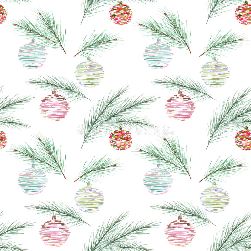Seamless Christmas pattern, Christmas balls, fir branches on blue background with white snowflakes. vector illustration