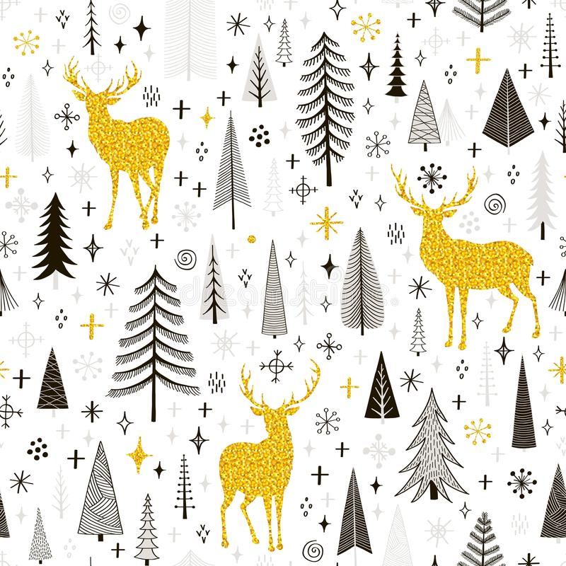 Seamless Christmas pattern with deers, snowflakes and spruce stock illustration