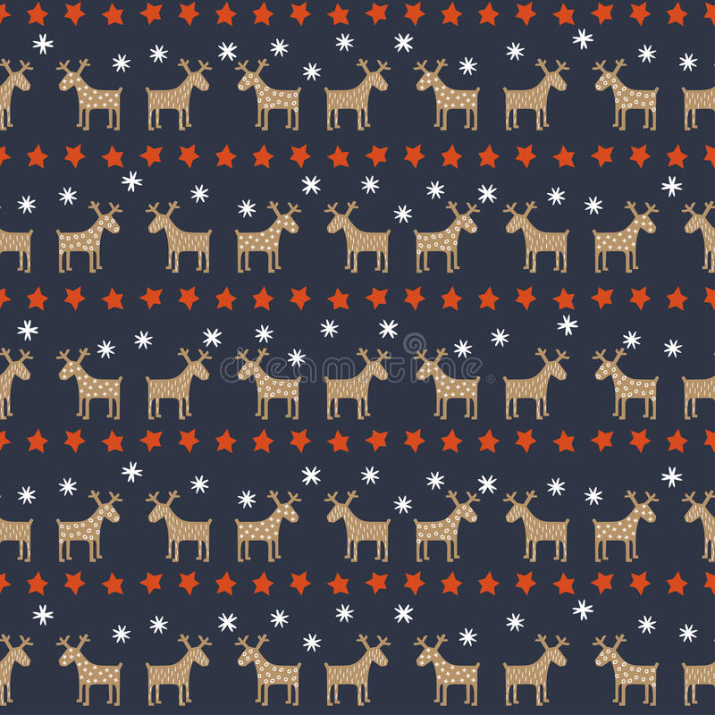 Seamless Christmas pattern - deers, stars and snowflakes. vector illustration