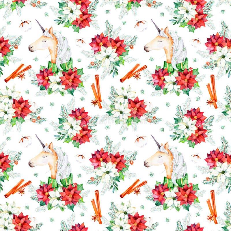 Seamless Christmas pattern with flowers,cute unicorn stock illustration
