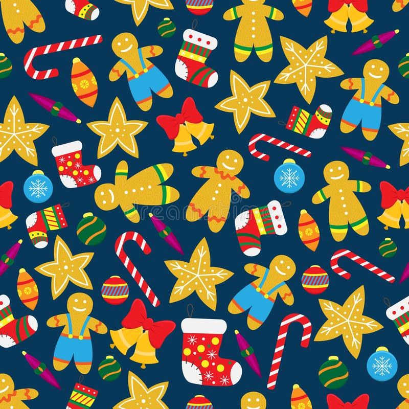 Seamless Christmas pattern with gingerbread, Christmas tree toys. Candy vector illustration