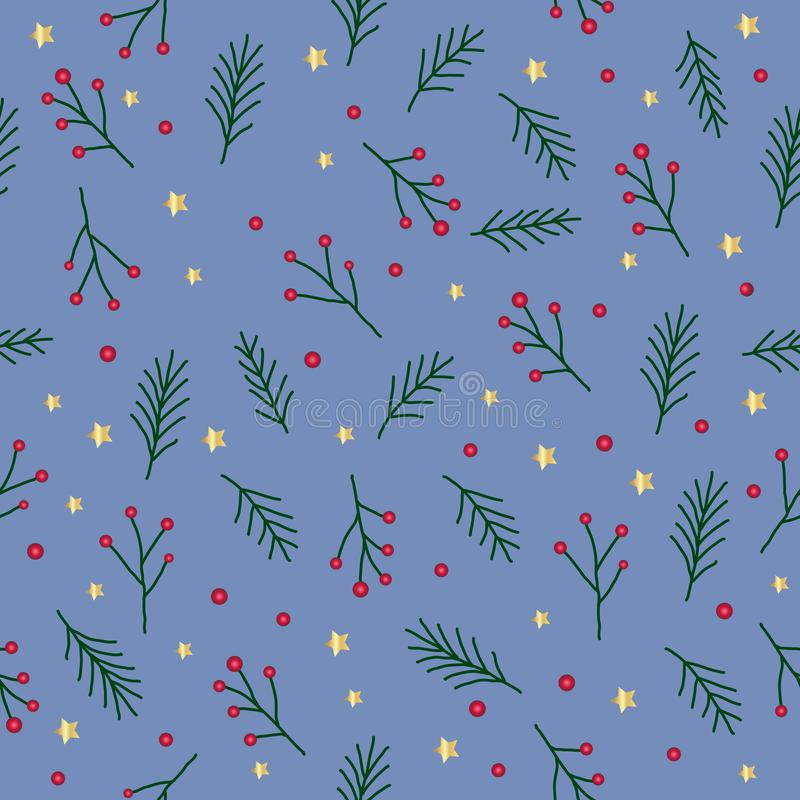 Seamless christmas pattern with green fir twigs, red berries, spruce tree sprig golden stars and circles on blue background, vecto royalty free illustration