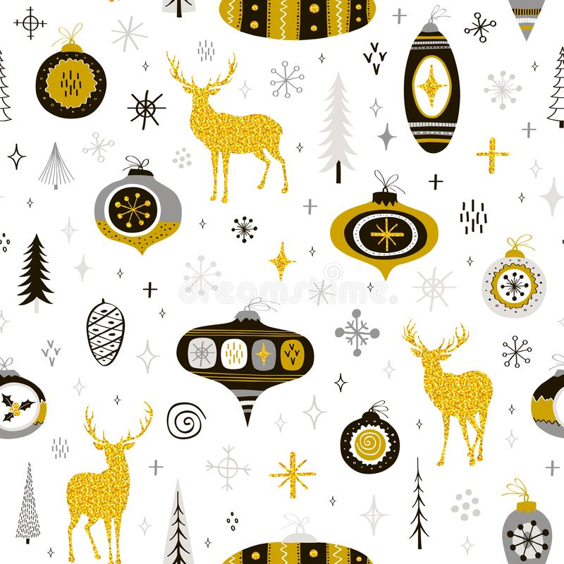 Seamless Christmas pattern with hand drawn balls, snowflakes and royalty free illustration