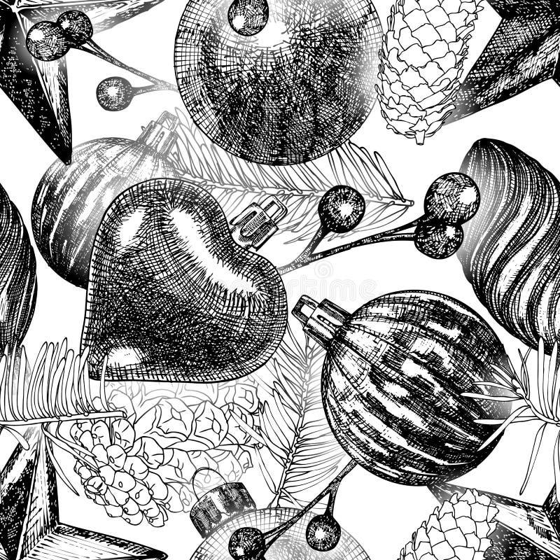 Seamless Christmas pattern. Hand drawn black white holiday eleme vector illustration