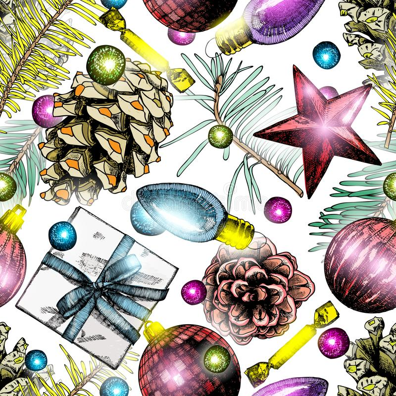Seamless Christmas pattern. Hand drawn holiday elements in endle royalty free illustration