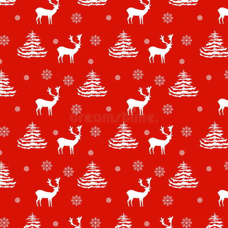 Seamless Christmas pattern hand drawn realistic reindeers, fir trees, snowflakes, white silhouette on red background. Fabric, wallpaper, gift wrapping vector illustration