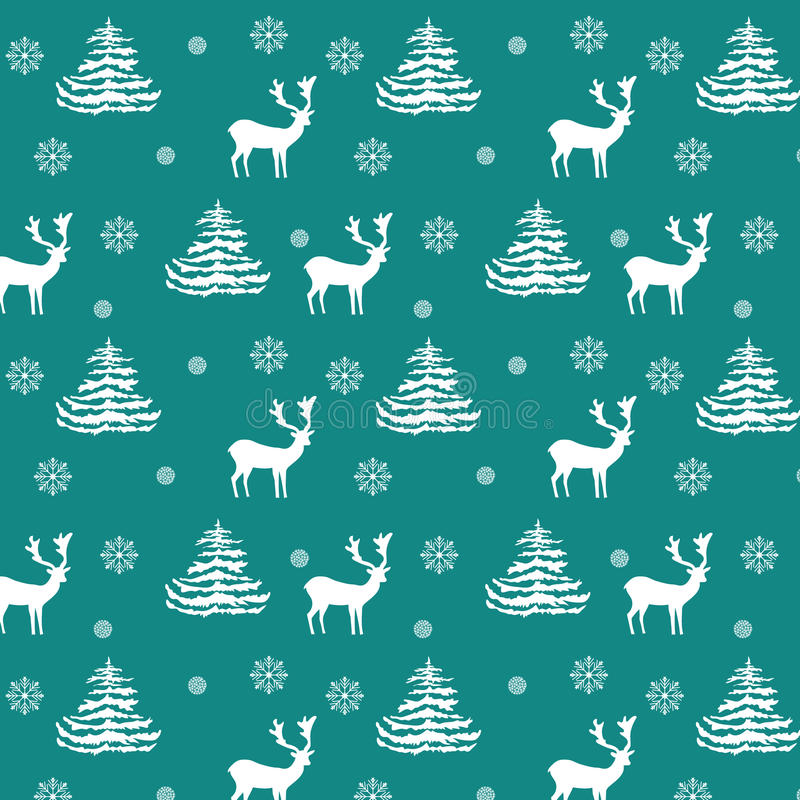 Seamless Christmas pattern hand drawn realistic reindeers, fir trees, snowflakes, white silhouette on turquoise background stock illustration