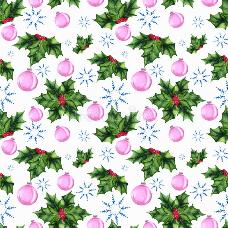 Seamless Christmas pattern with Holly, snowflake and Christmas tree toys. Background for holiday packaging, textiles or Wallpaper. stock photography