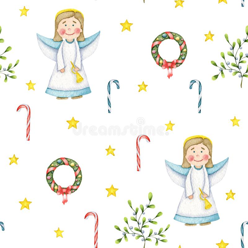Seamless Christmas pattern with holy angel, mistletoe with white berries, holiday wreath, sweet staves and stars on a white royalty free illustration