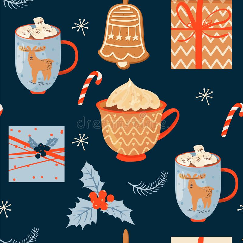 Seamless Christmas pattern with mugs of cacao with whipped cream and marshmallow, gifts, ginger cookie, lollipop and holly leave. vector illustration