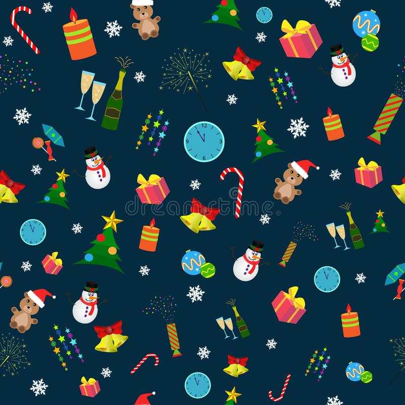 Seamless christmas pattern. Seamless christmas and new year pattern of different objects in the dark blue royalty free illustration