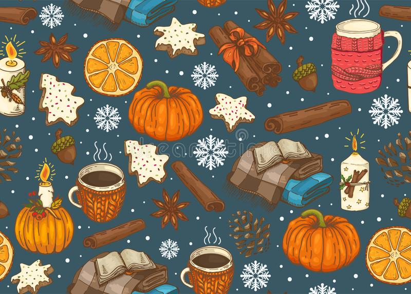 Seamless Christmas pattern with a plaid, cup, pumpkin, cookies, spices, etc vector illustration