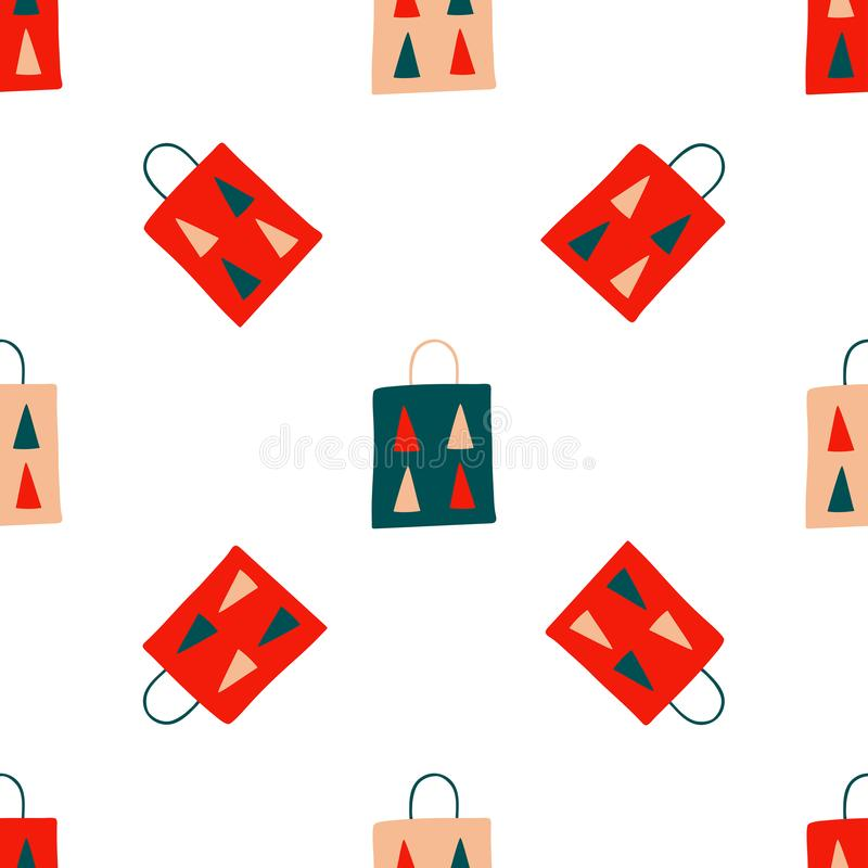 Seamless Christmas pattern of repeating holiday elements - gift paper bags with fir trees on a white background. Vector vector illustration