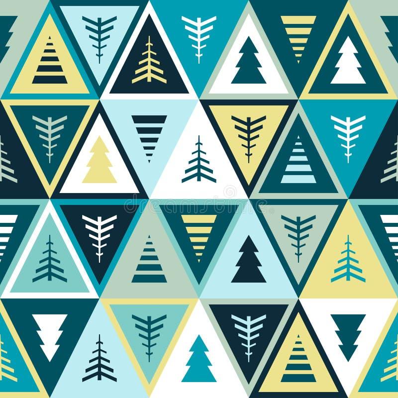 Geometric Christmas ornament with Christmas trees. vector illustration