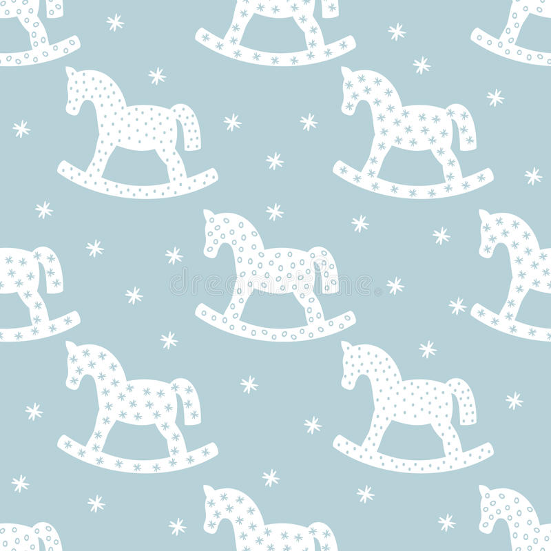 Seamless christmas pattern with rocking horses. vector illustration