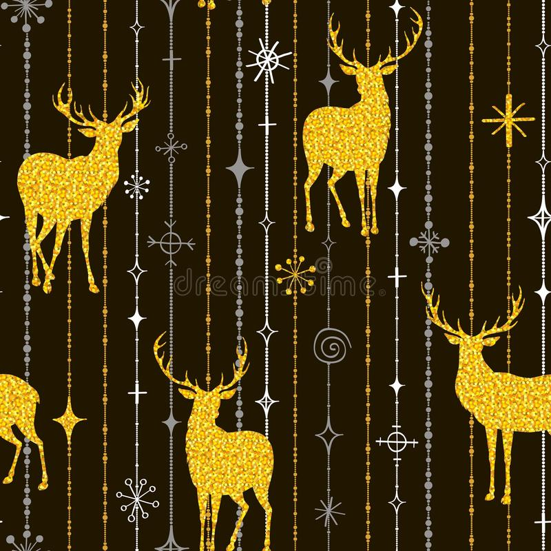 Seamless Christmas pattern with silhouettes of gold deers and sn royalty free illustration