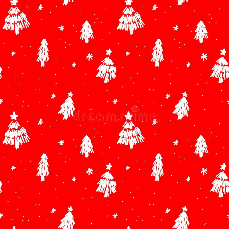 Seamless christmas pattern sketches of natural elements vector illustration