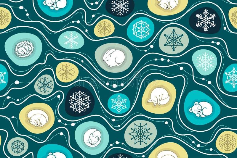 Seamless Christmas pattern with sleeping animals stock illustration