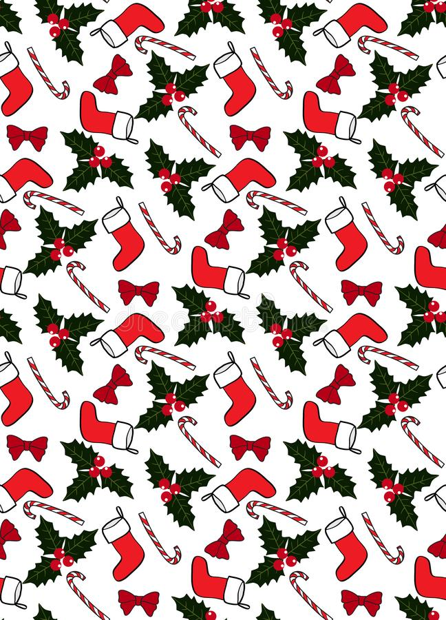 Seamless Christmas pattern with socks, candies, holly, and bows. Seamless Christmas pattern, with socks, candies, holly, and bows stock illustration