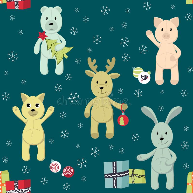 Seamless Christmas pattern with toy animals. stock illustration