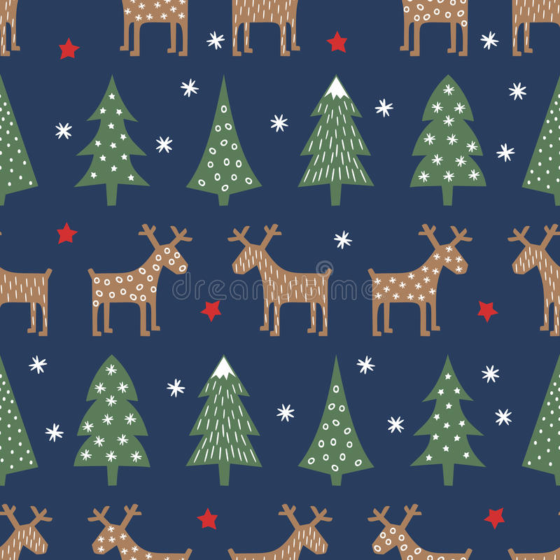 Seamless Christmas pattern - varied Xmas trees, deer, stars and snowflakes. Colorful Happy New Year background. Vector design for winter holidays stock illustration