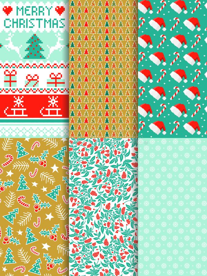 Seamless christmas pattern vector set. Design stock images