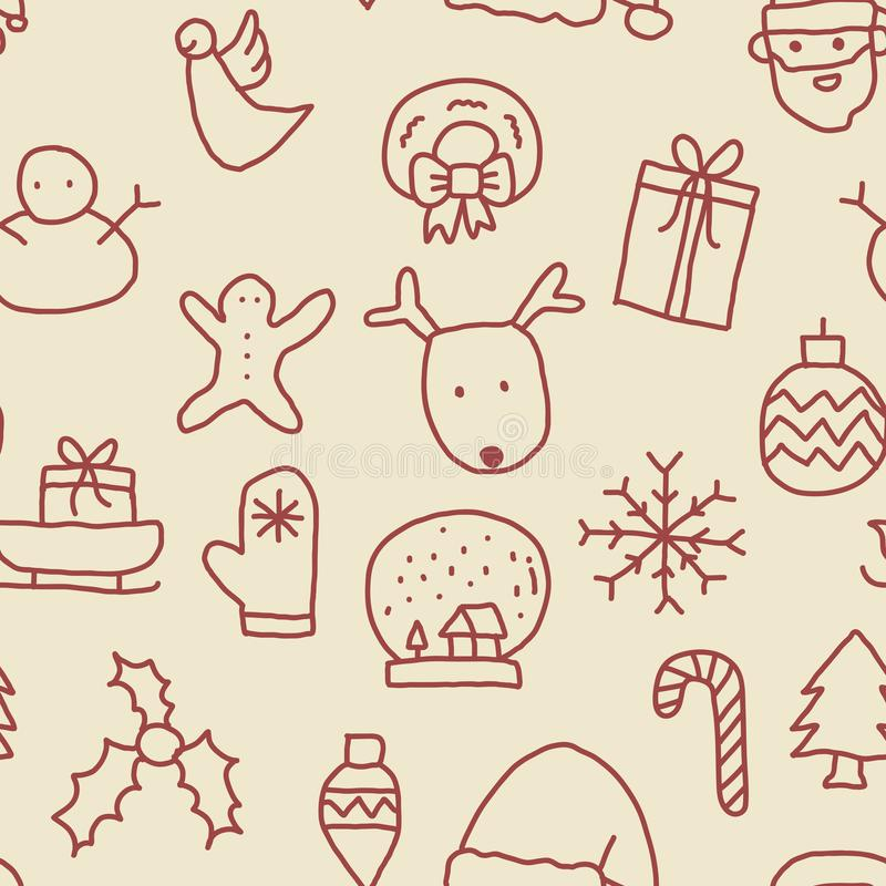 Seamless Christmas Pattern. In vintage color style with cute doodle handdrawn christmas related icons stock illustration