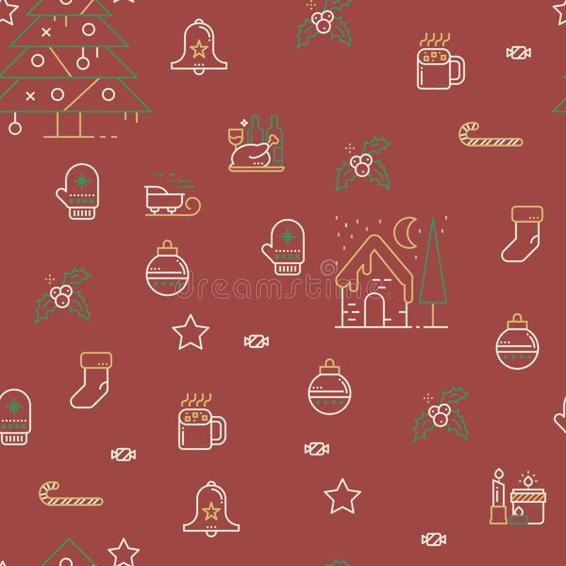 Seamless Christmas Pattern. In vintage color style with cute christmas related icons vector illustration