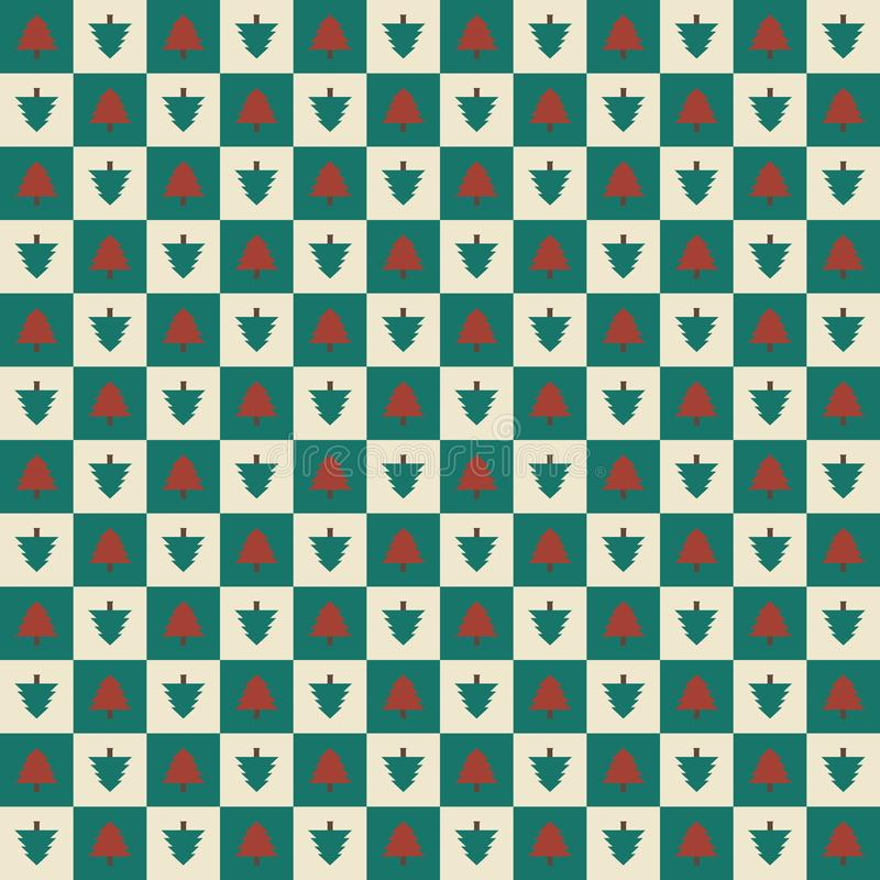 Seamless Christmas Pattern. In vintage color style with red and green pine trees stock illustration