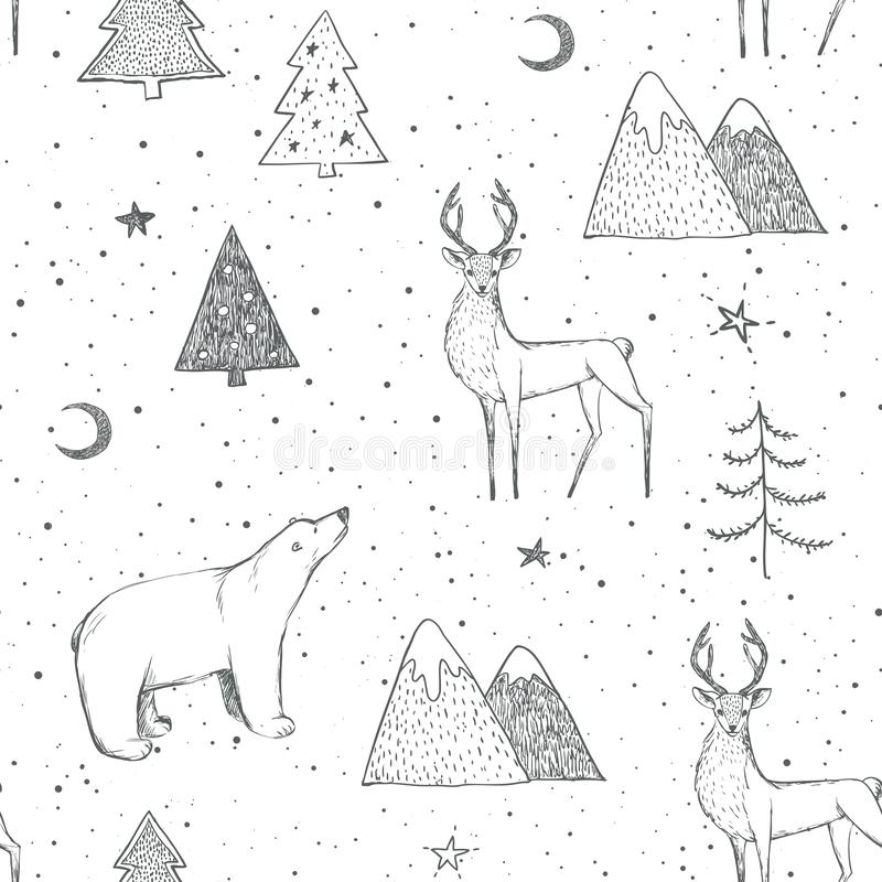 Free Seamless Christmas Pattern With Black Bear, Reindeer / Deer, Mountains, Moon, Spruce On White Background Royalty Free Stock Photography - 165891437