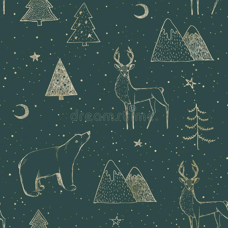 Free Seamless Christmas Pattern With Gold Bear, Reindeer / Deer, Mountains, Moon, Spruce On Green Background Stock Photo - 165891450