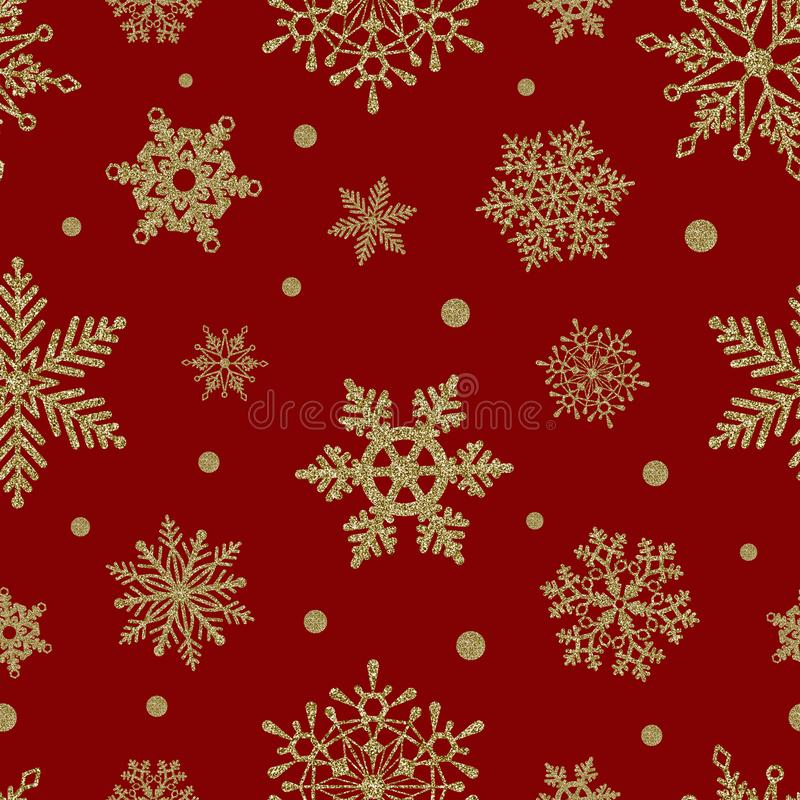 Free Seamless Christmas Pattern With Gold Glitter Snowflakes On Red Background Stock Photo - 164015280