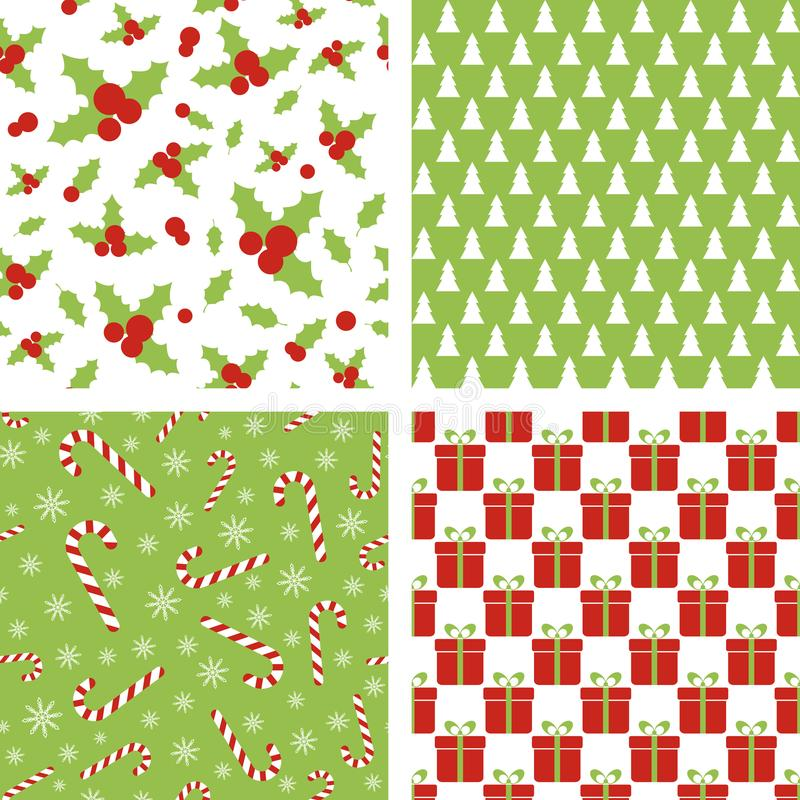 Seamless Christmas patterns. Set of backgrounds for wrapping paper, wallpaper, fabric design. Seamless Christmas patterns. Set of vector backgrounds for wrapping stock illustration