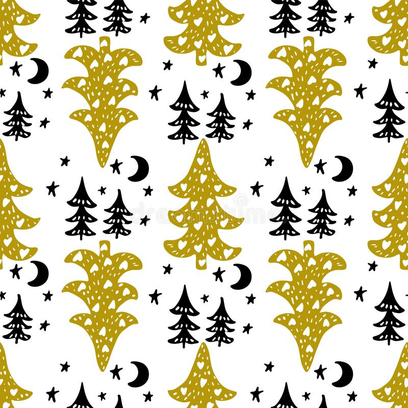 Seamless Christmas patterns. Vector design for the winter holidays stock illustration
