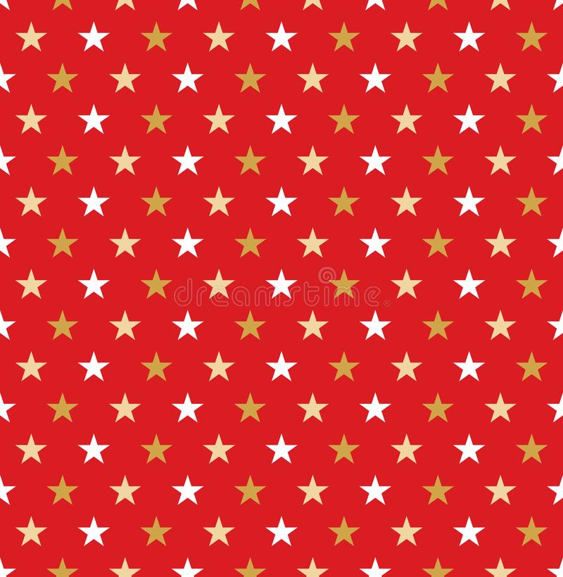 Seamless Christmas red and gold star wrapping paper pattern. vector illustration