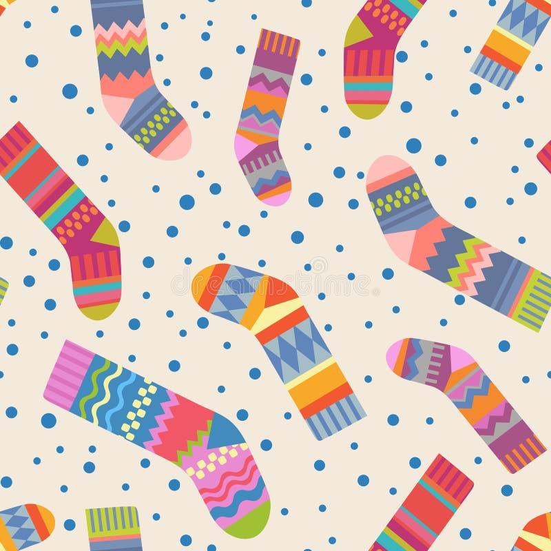 Seamless christmas stocking pattern vector illustration