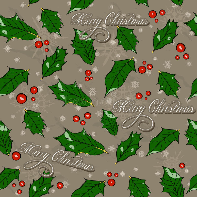 Free Seamless Christmas Texture With Holly Leaves. Stock Photos - 34683043