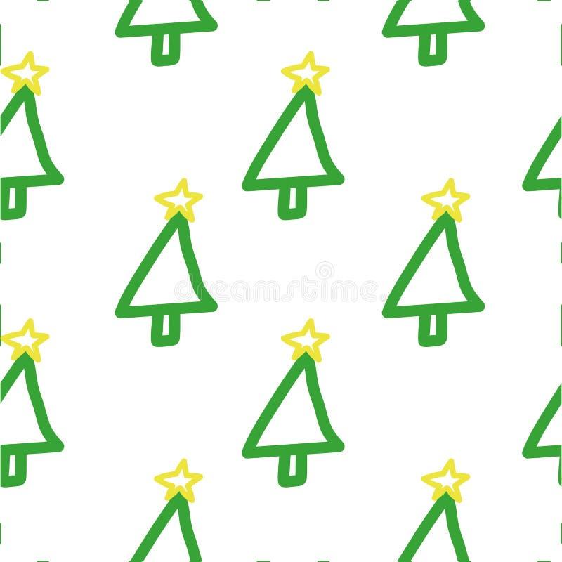 Seamless Christmas tree pattern. Hand drawn, cute, childish, holiday`s symbol on white background. stock photo