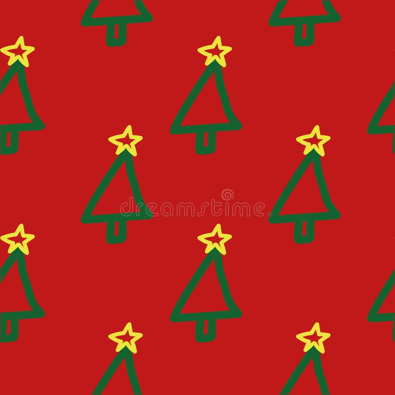 Seamless Christmas tree pattern. Hand drawn, cute, childish, holiday symbol on red background. vector illustration