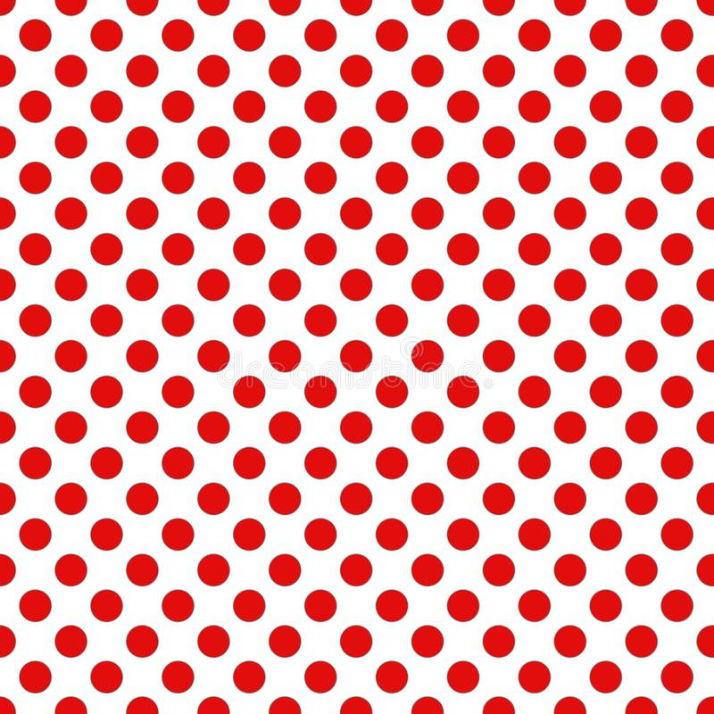 Seamless Christmas wrapping paper pattern. Festive Christmas dot pattern. Red dots on white background stock illustration