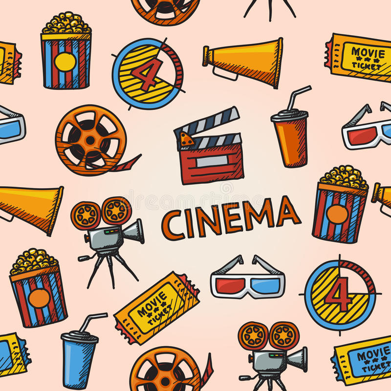 Seamless cinema handdrawn pattern. With - cinema projector, film strip, 3D glasses, clapboard, popcorn in a striped tub, cinema ticket, glass of drink royalty free illustration