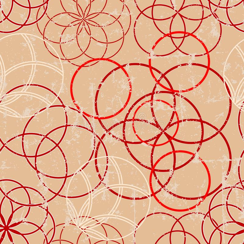 Seamless circle ornaments pattern, seamless background w. grunge texture stock illustration