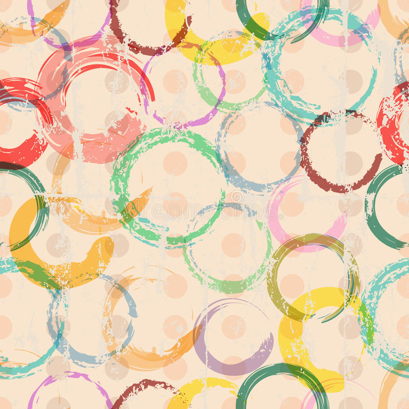 Seamless circle and polka dots background stock illustration