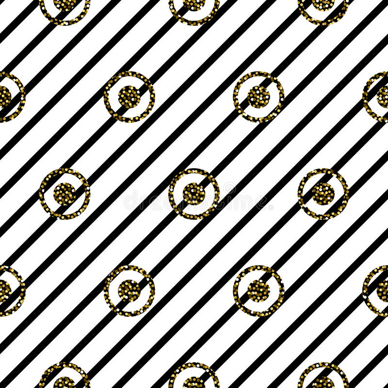 Seamless circles and stripes black and white pattern. vector illustration
