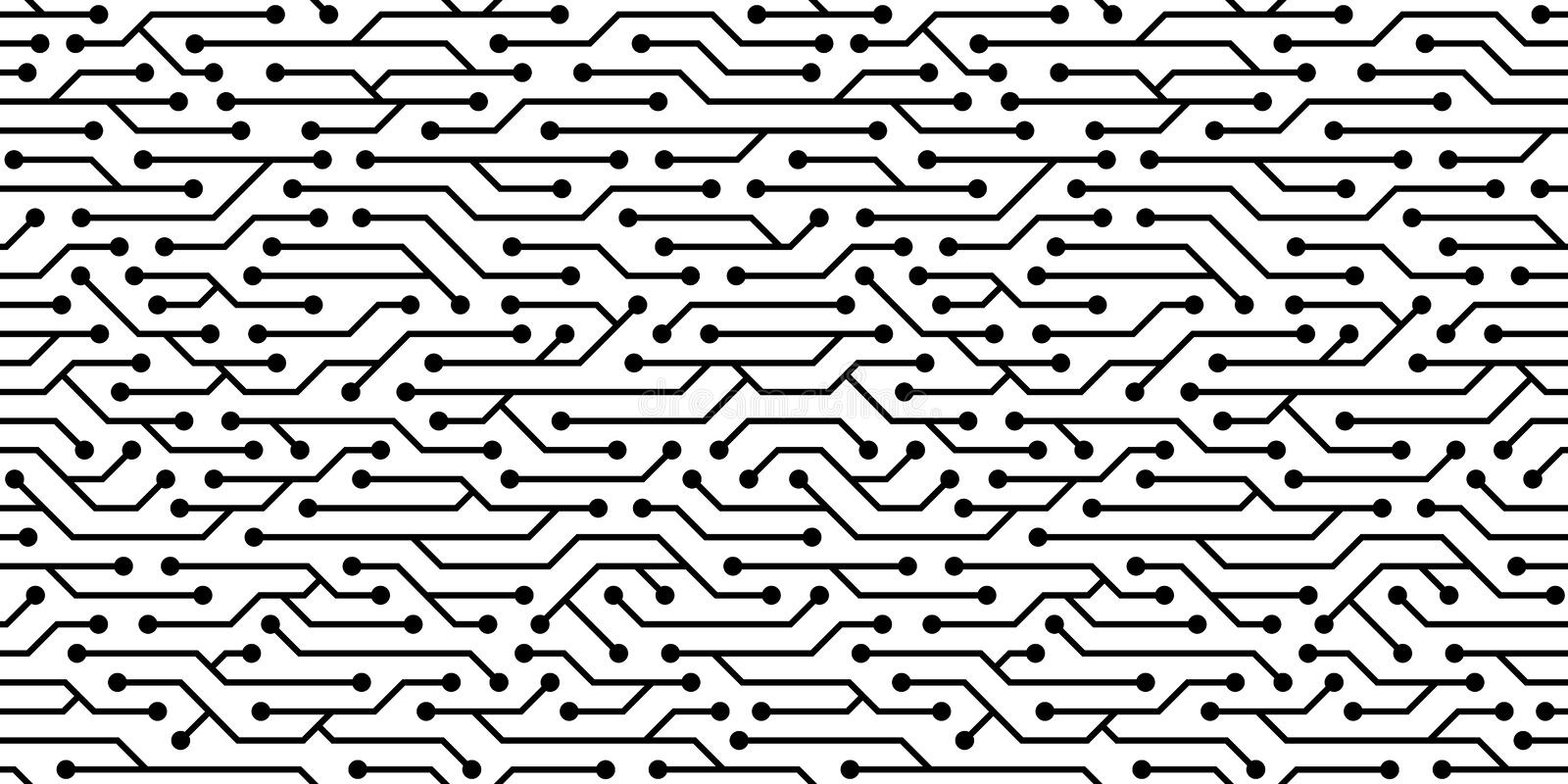 Seamless circuit board pattern. Vector microchip background. stock illustration