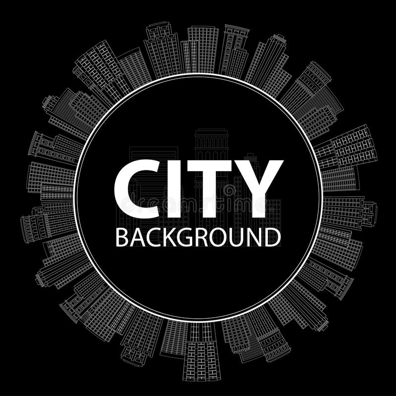 Seamless circular frame of line skyscrapers. Black and white. Vector illustration Seamless circular frame of line skyscrapers. Black and white royalty free illustration