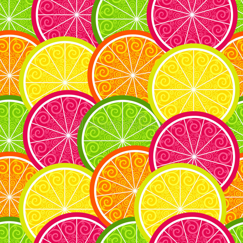 Seamless citrus colorful pattern royalty free illustration