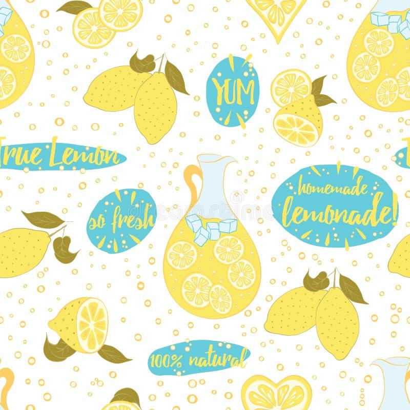 Seamless citrus fruit lemon lemonade pattern. royalty free illustration