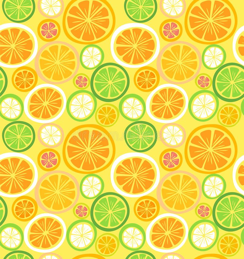 Seamless citrus fruits pattern. Vector stock illustration