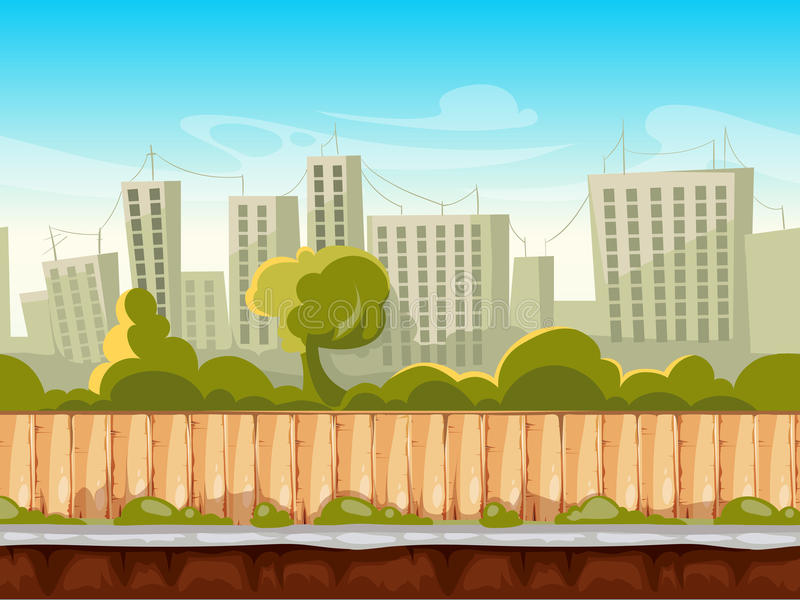 Seamless city landscape, cityscape vector background for smartphone app and computer games. Background town street with home and tree. Vector illustration stock illustration